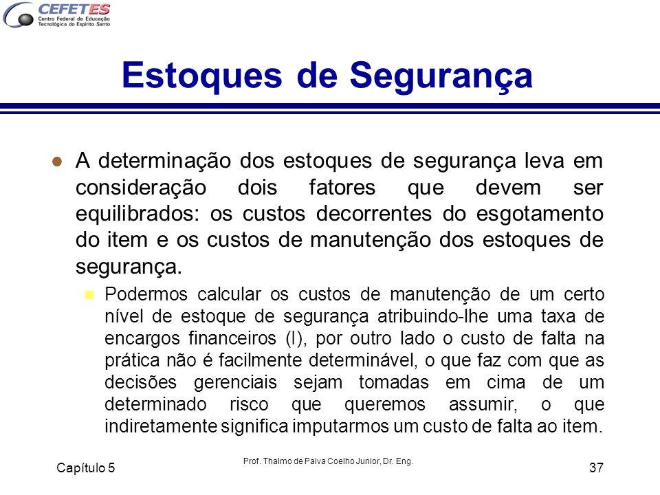 Prof. Thalmo de Paiva Coelho Junior, Dr. Eng. Capítulo 537 Estoques de Segurança l A determinação dos estoques de segurança leva em consideração dois