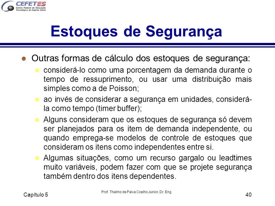 Prof. Thalmo de Paiva Coelho Junior, Dr. Eng. Capítulo 540 Estoques de Segurança l Outras formas de cálculo dos estoques de segurança: n considerá-lo
