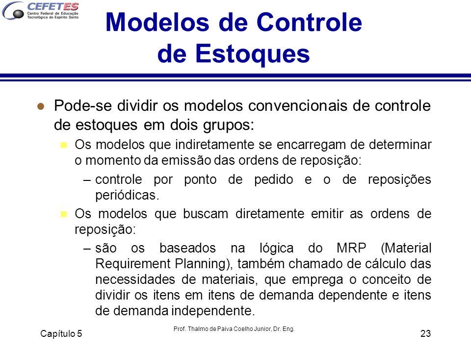 Prof. Thalmo de Paiva Coelho Junior, Dr. Eng. Capítulo 523 Modelos de Controle de Estoques l Pode-se dividir os modelos convencionais de controle de e