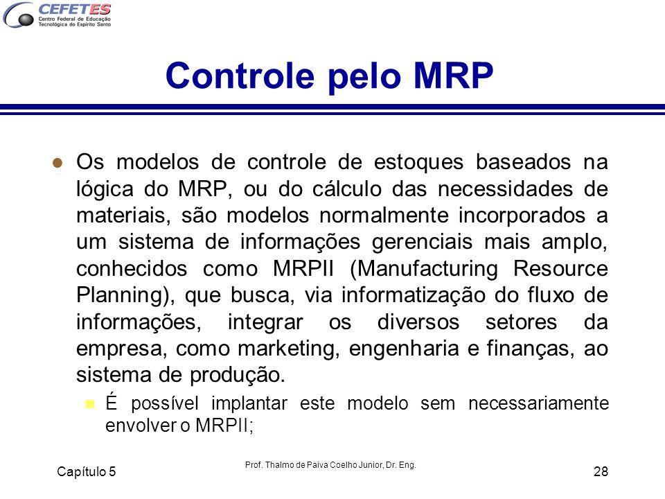 Prof. Thalmo de Paiva Coelho Junior, Dr. Eng. Capítulo 528 Controle pelo MRP l Os modelos de controle de estoques baseados na lógica do MRP, ou do cál