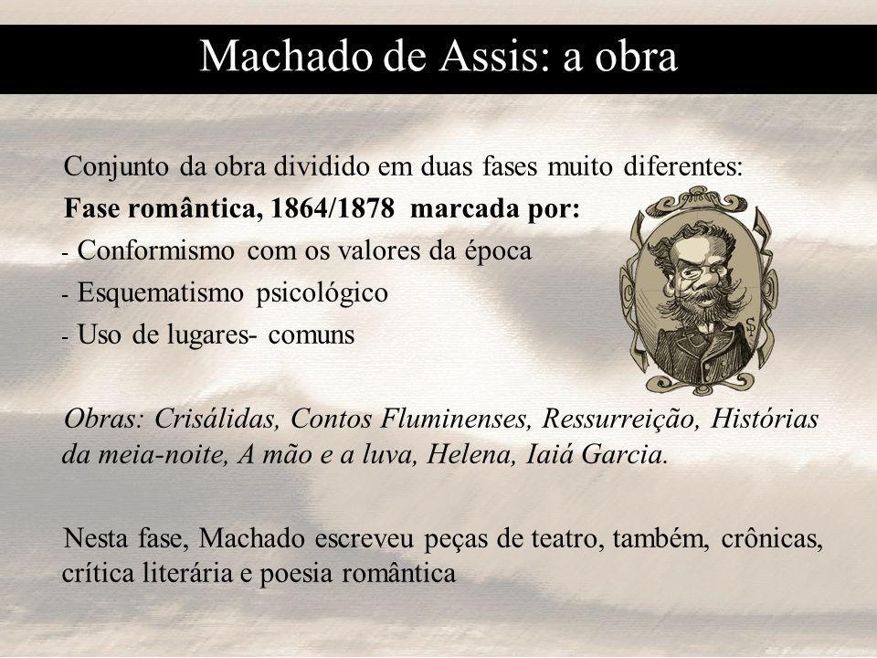 Machado de Assis: a obra Fase madura ou realista, 1880/1908 marcada por: - - Destruição da narrativa linear - - Análise psicológica - - Técnica do desmascaramento (aparência x essência) - - Análise dos valores sociais - - Pessimismo machadiano - - Humor irônico - - Perfeição expressiva Obras: Memórias póstumas de Brás Cubas, Papéis avulsos, Histórias sem data, Quincas Borba, Várias Histórias, Dom Casmurro, Esaú e Jacó, Memorial de Aires e poesia parnasiana.