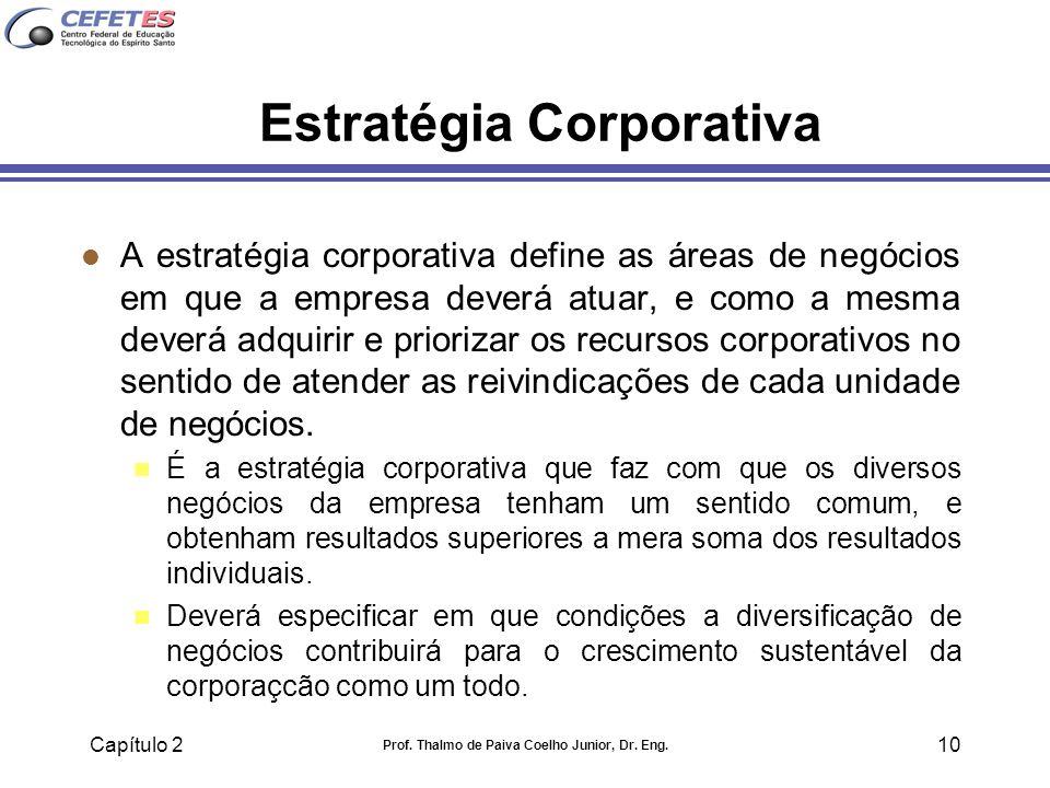 Capítulo 2 Prof. Thalmo de Paiva Coelho Junior, Dr. Eng. 10 Estratégia Corporativa l A estratégia corporativa define as áreas de negócios em que a emp