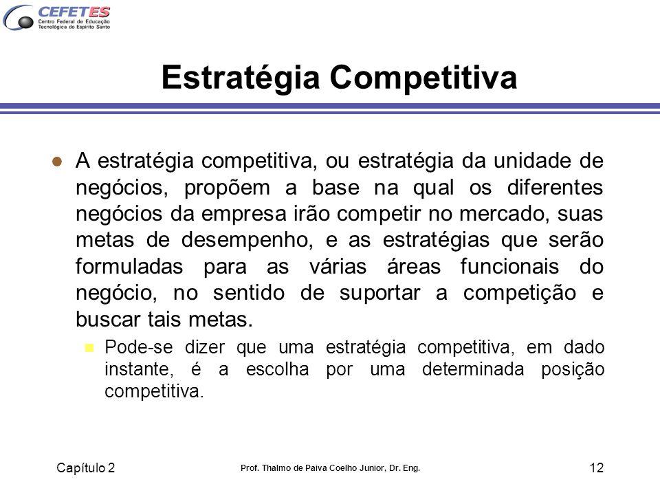 Capítulo 2 Prof. Thalmo de Paiva Coelho Junior, Dr. Eng. 12 Estratégia Competitiva l A estratégia competitiva, ou estratégia da unidade de negócios, p