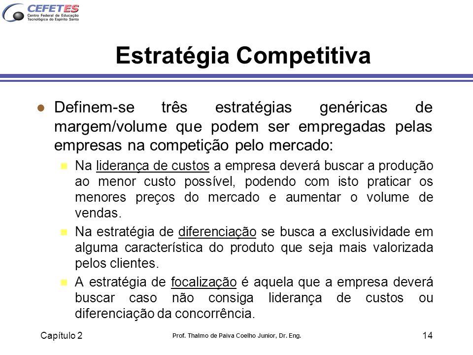 Capítulo 2 Prof. Thalmo de Paiva Coelho Junior, Dr. Eng. 14 Estratégia Competitiva l Definem-se três estratégias genéricas de margem/volume que podem