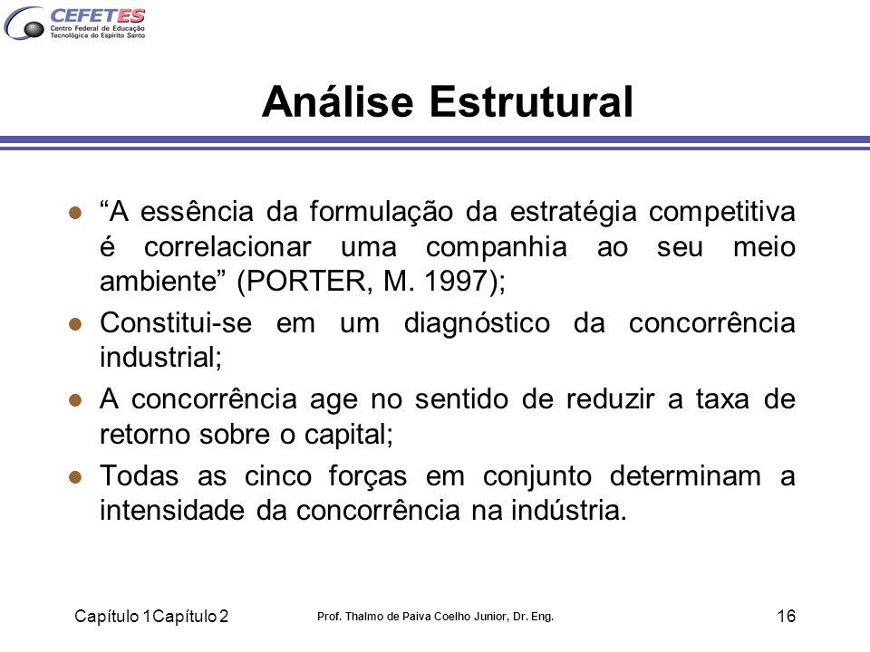 Capítulo 1Capítulo 2 Prof. Thalmo de Paiva Coelho Junior, Dr. Eng. 16 Análise Estrutural l A essência da formulação da estratégia competitiva é correl