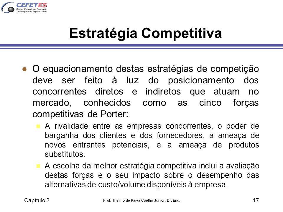 Capítulo 2 Prof. Thalmo de Paiva Coelho Junior, Dr. Eng. 17 Estratégia Competitiva l O equacionamento destas estratégias de competição deve ser feito
