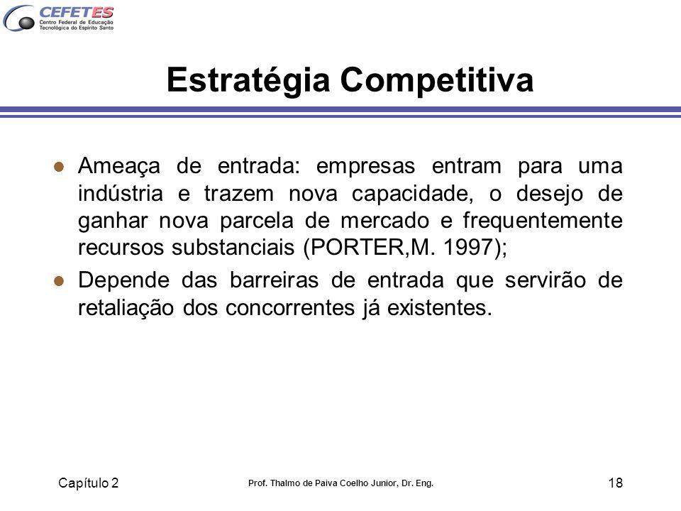 Capítulo 2 Prof. Thalmo de Paiva Coelho Junior, Dr. Eng. 18 Estratégia Competitiva l Ameaça de entrada: empresas entram para uma indústria e trazem no
