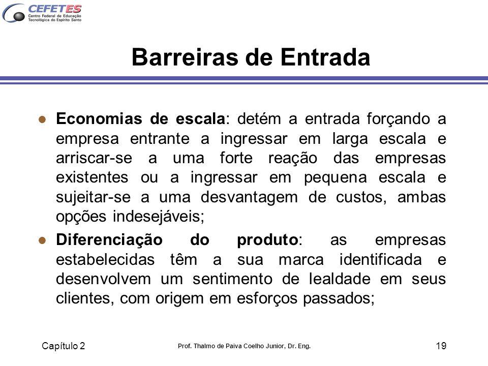 Capítulo 2 Prof. Thalmo de Paiva Coelho Junior, Dr. Eng. 19 Barreiras de Entrada l Economias de escala: detém a entrada forçando a empresa entrante a