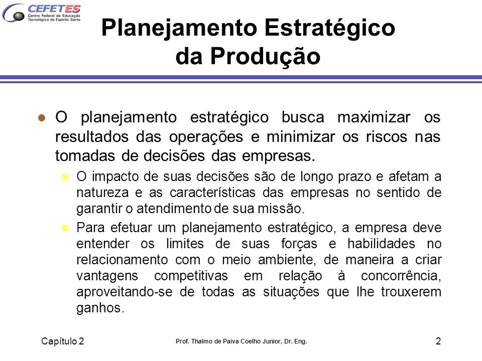 Capítulo 2 Prof. Thalmo de Paiva Coelho Junior, Dr. Eng. 2 Planejamento Estratégico da Produção l O planejamento estratégico busca maximizar os result
