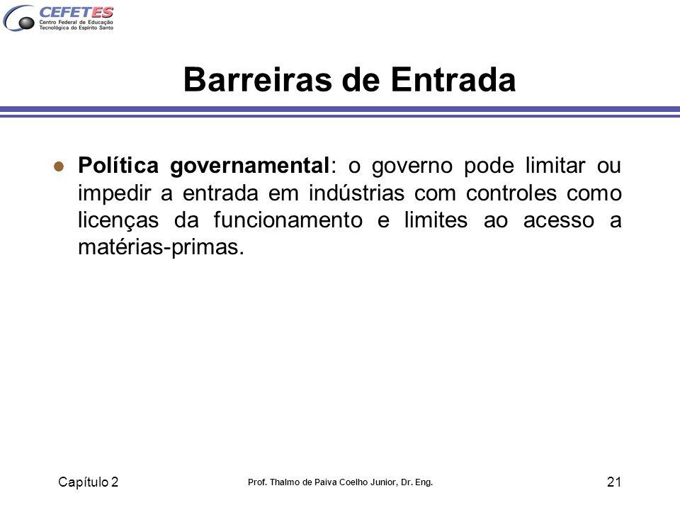 Capítulo 2 Prof. Thalmo de Paiva Coelho Junior, Dr. Eng. 21 Barreiras de Entrada l Política governamental: o governo pode limitar ou impedir a entrada