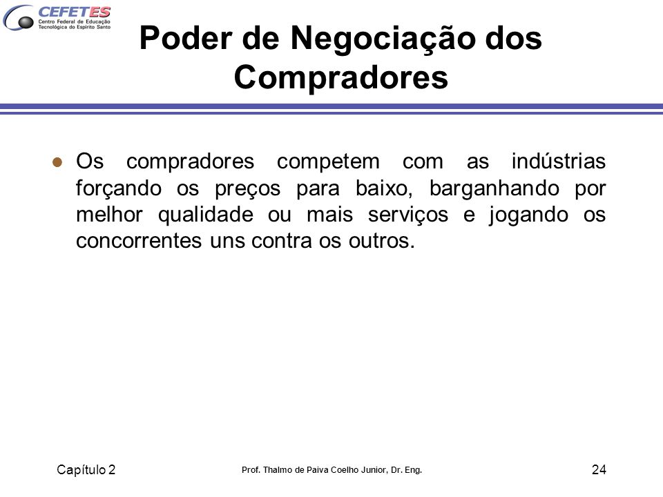 Capítulo 2 Prof. Thalmo de Paiva Coelho Junior, Dr. Eng. 24 Poder de Negociação dos Compradores l Os compradores competem com as indústrias forçando o