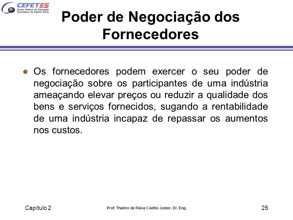 Capítulo 2 Prof. Thalmo de Paiva Coelho Junior, Dr. Eng. 25 Poder de Negociação dos Fornecedores l Os fornecedores podem exercer o seu poder de negoci