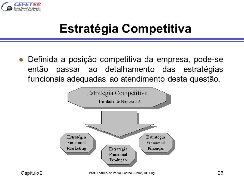 Capítulo 2 Prof. Thalmo de Paiva Coelho Junior, Dr. Eng. 26 Estratégia Competitiva l Definida a posição competitiva da empresa, pode-se então passar a