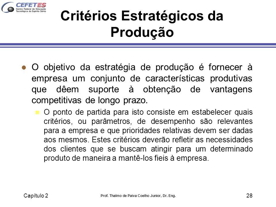 Capítulo 2 Prof. Thalmo de Paiva Coelho Junior, Dr. Eng. 28 Critérios Estratégicos da Produção l O objetivo da estratégia de produção é fornecer à emp