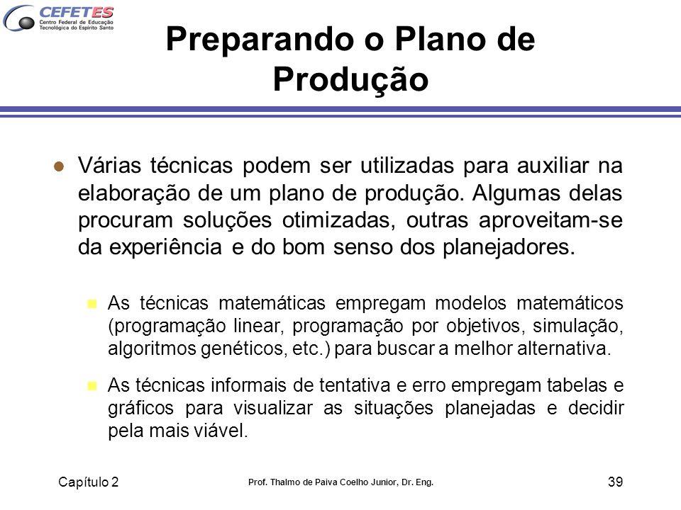 Capítulo 2 Prof. Thalmo de Paiva Coelho Junior, Dr. Eng. 39 Preparando o Plano de Produção l Várias técnicas podem ser utilizadas para auxiliar na ela