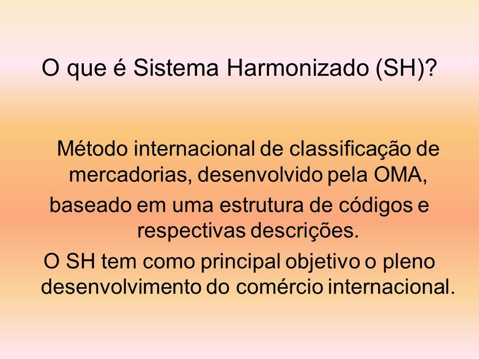 Método internacional de classificação de mercadorias, desenvolvido pela OMA, baseado em uma estrutura de códigos e respectivas descrições. O SH tem co