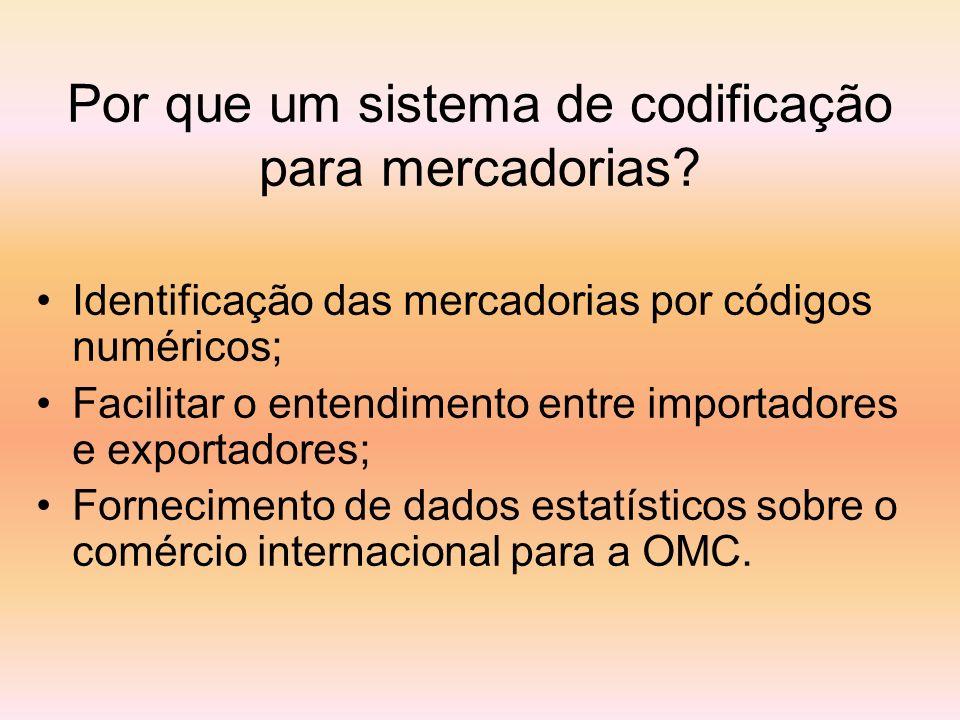 Identificação das mercadorias por códigos numéricos; Facilitar o entendimento entre importadores e exportadores; Fornecimento de dados estatísticos so