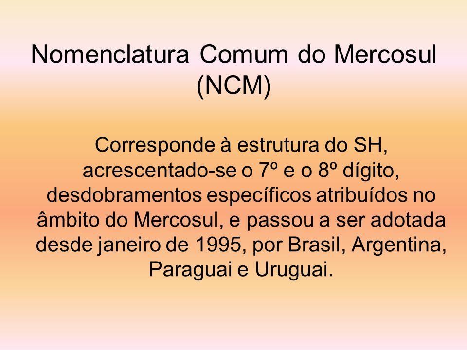 Nomenclatura Comum do Mercosul (NCM) Corresponde à estrutura do SH, acrescentado-se o 7º e o 8º dígito, desdobramentos específicos atribuídos no âmbit