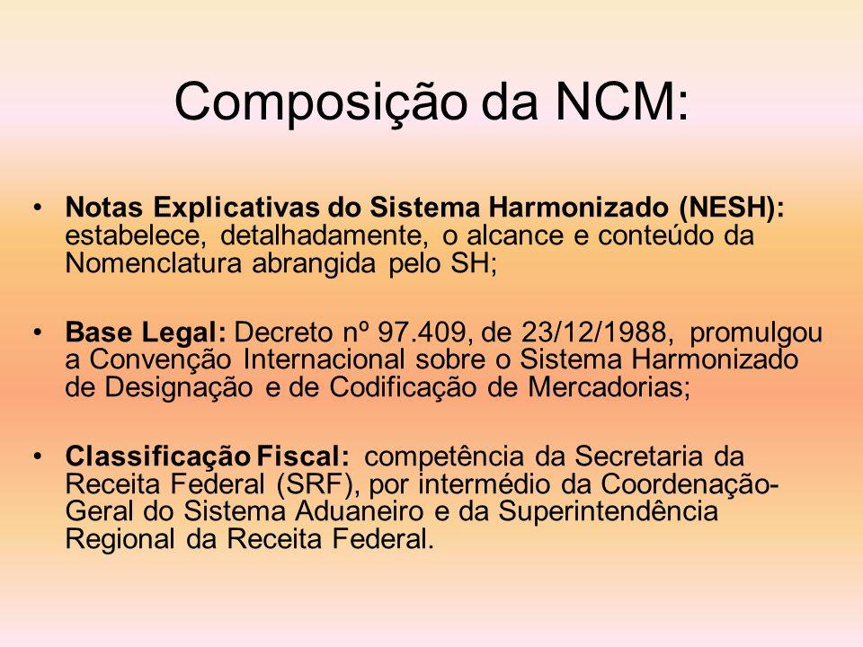 Composição da NCM: Notas Explicativas do Sistema Harmonizado (NESH): estabelece, detalhadamente, o alcance e conteúdo da Nomenclatura abrangida pelo S
