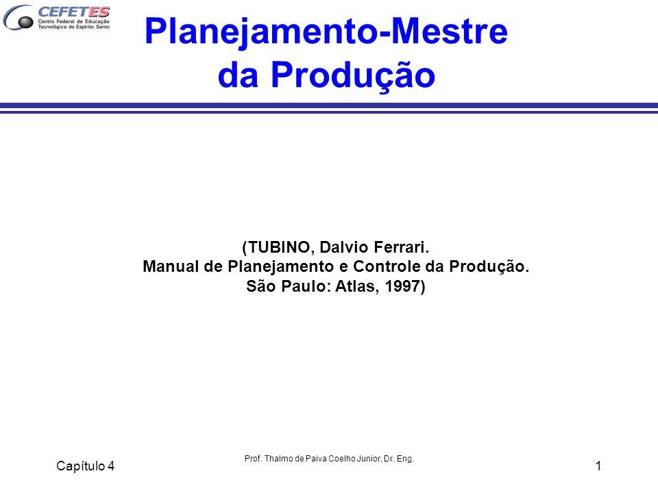 Capítulo 4 Prof. Thalmo de Paiva Coelho Junior, Dr. Eng. 1 Planejamento-Mestre da Produção (TUBINO, Dalvio Ferrari. Manual de Planejamento e Controle