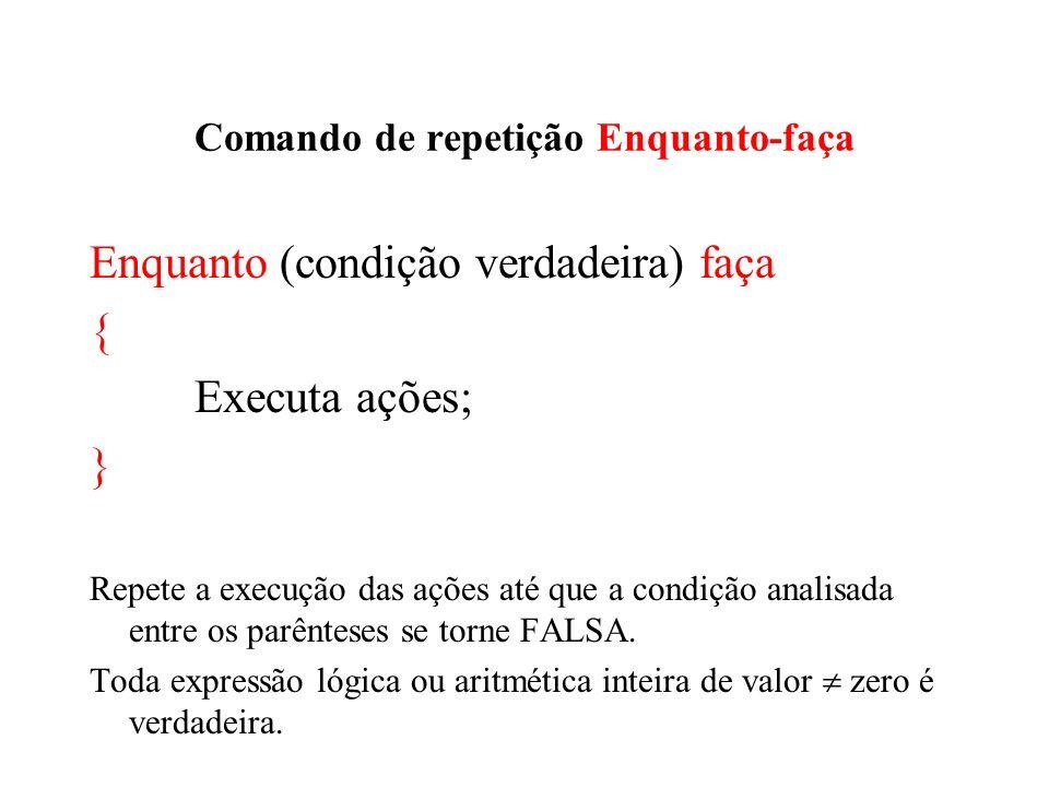 Comando de repetição Enquanto-faça Enquanto (condição verdadeira) faça { Executa ações; } Repete a execução das ações até que a condição analisada ent