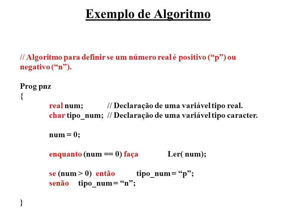 Exemplo de Algoritmo // Algoritmo para definir se um número real é positivo (p) ou negativo (n). Prog pnz { real num; // Declaração de uma variável ti