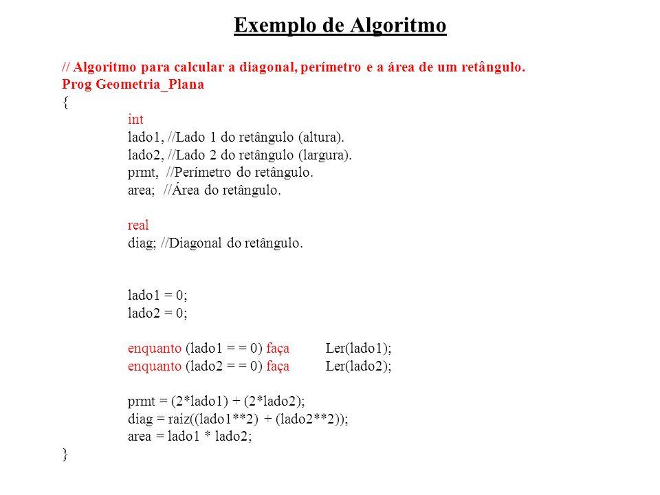 Exemplo de Algoritmo // Algoritmo para calcular a diagonal, perímetro e a área de um retângulo. Prog Geometria_Plana { int lado1, //Lado 1 do retângul