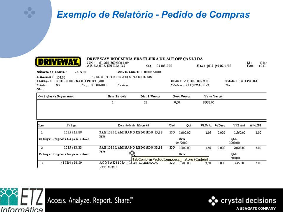A SEAGATE COMPANY Exemplo de Relatório - Pedido de Compras