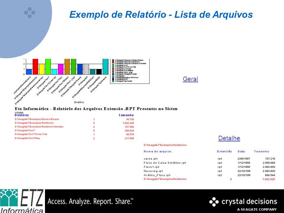 A SEAGATE COMPANY Exemplo de Relatório - Lista de Arquivos Geral Detalhe