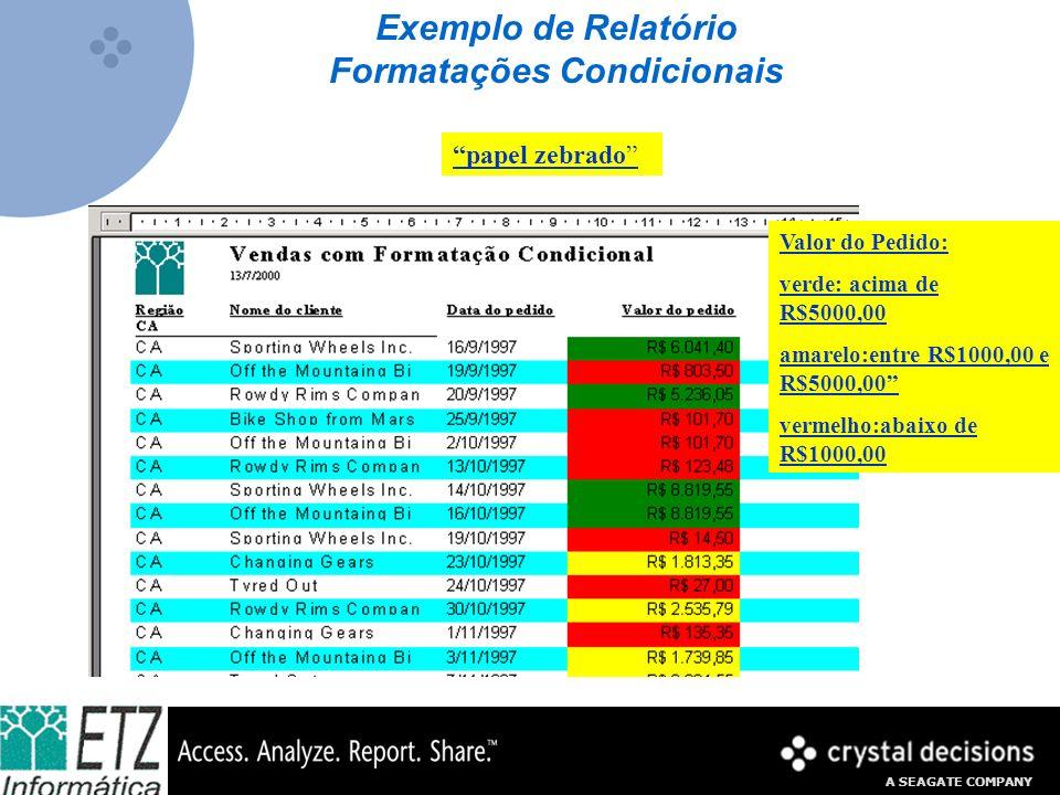 A SEAGATE COMPANY Exemplo de Relatório Formatações Condicionais papel zebrado Valor do Pedido: verde: acima de R$5000,00 amarelo:entre R$1000,00 e R$5