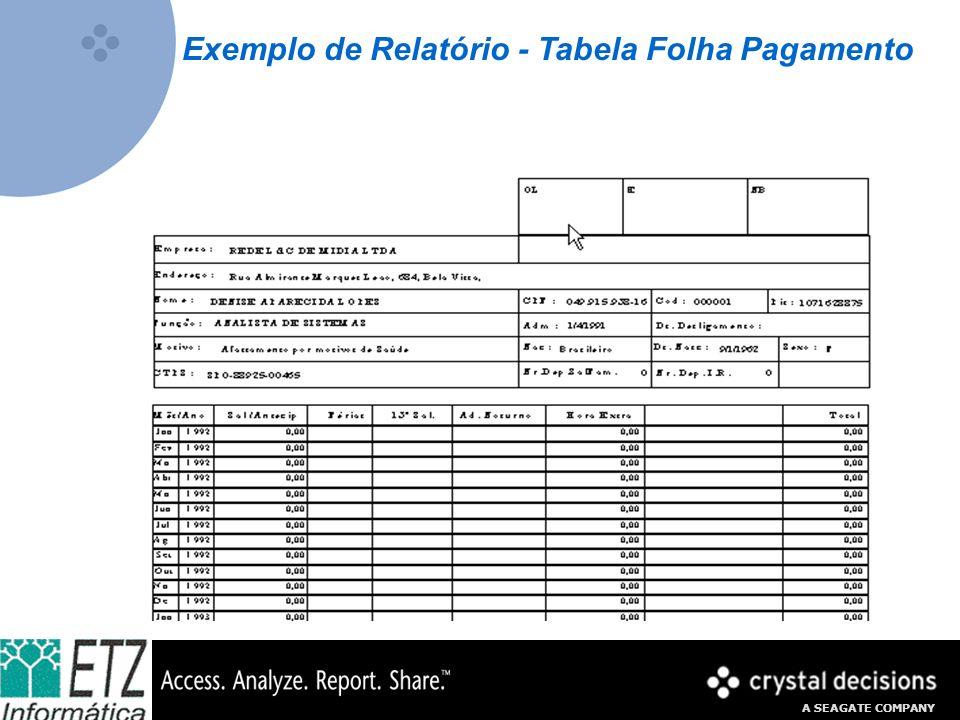A SEAGATE COMPANY Exemplo de Relatório - Tabela Folha Pagamento