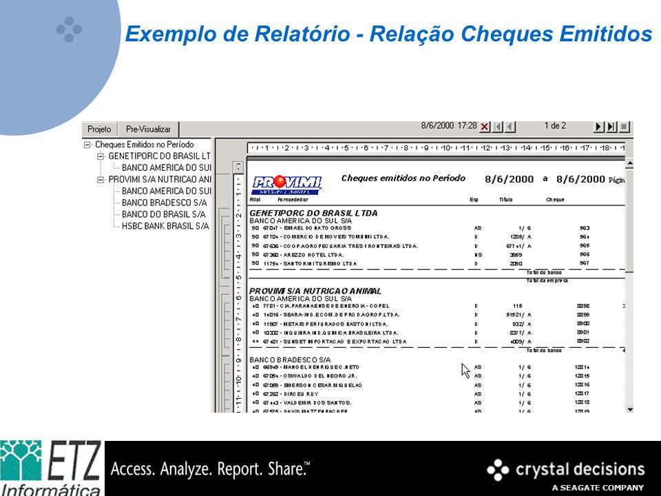 A SEAGATE COMPANY Exemplo de Relatório - Relação Cheques Emitidos