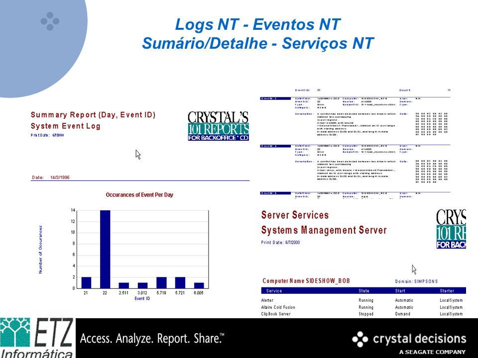 A SEAGATE COMPANY Logs NT - Eventos NT Sumário/Detalhe - Serviços NT