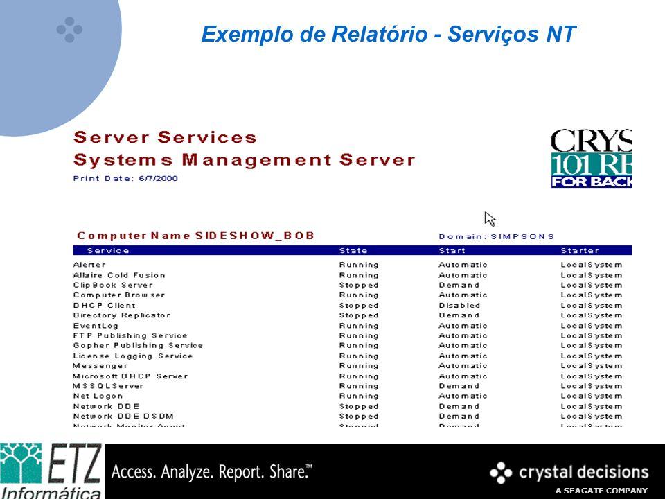 A SEAGATE COMPANY Exemplo de Relatório - Serviços NT