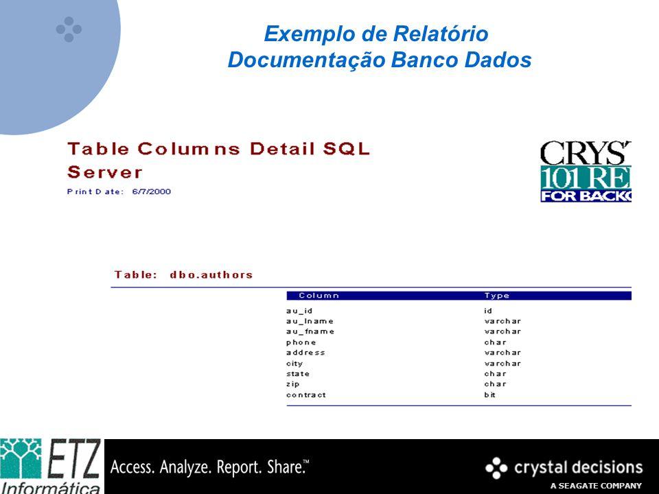 A SEAGATE COMPANY Exemplo de Relatório Documentação Banco Dados