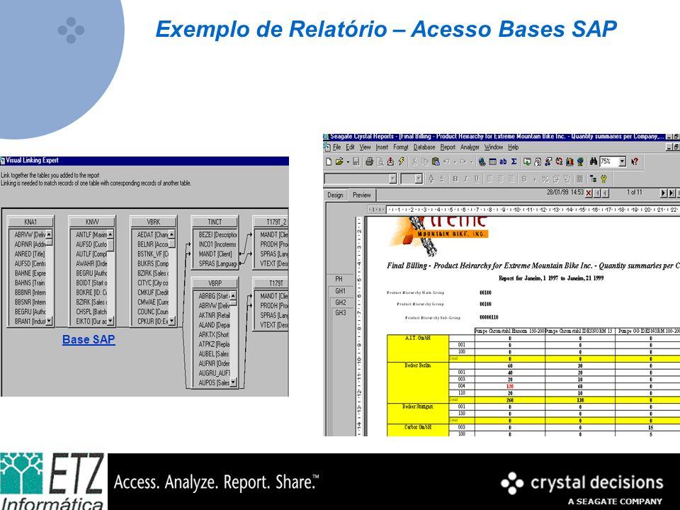 A SEAGATE COMPANY Exemplo de Relatório – Acesso Bases SAP Base SAP
