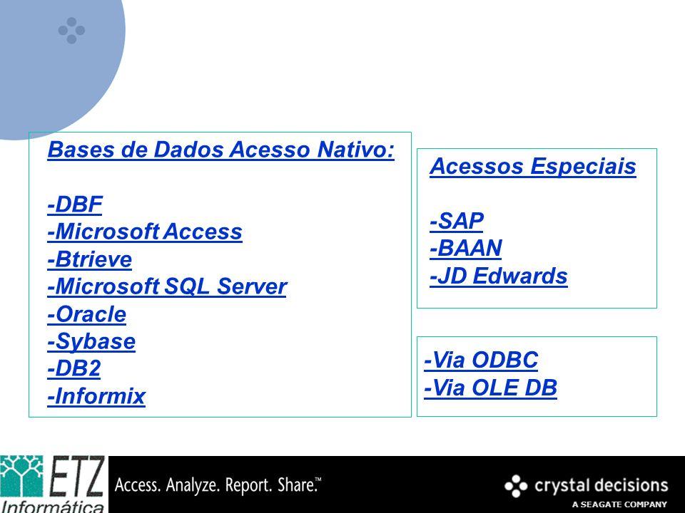 A SEAGATE COMPANY Bases de Dados Acesso Nativo: -DBF -Microsoft Access -Btrieve -Microsoft SQL Server -Oracle -Sybase -DB2 -Informix Acessos Especiais