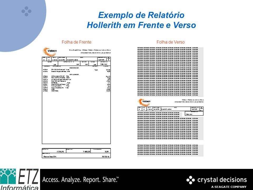 A SEAGATE COMPANY Exemplo de Relatório Hollerith em Frente e Verso Folha de FrenteFolha de Verso