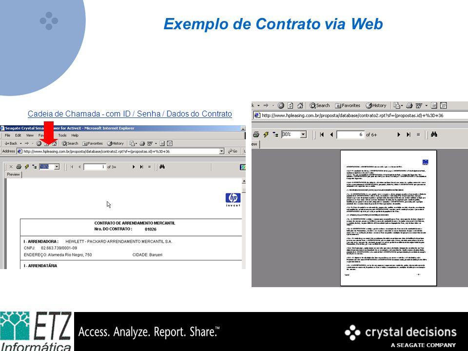 A SEAGATE COMPANY Exemplo de Contrato via Web Cadeia de Chamada - com ID / Senha / Dados do Contrato