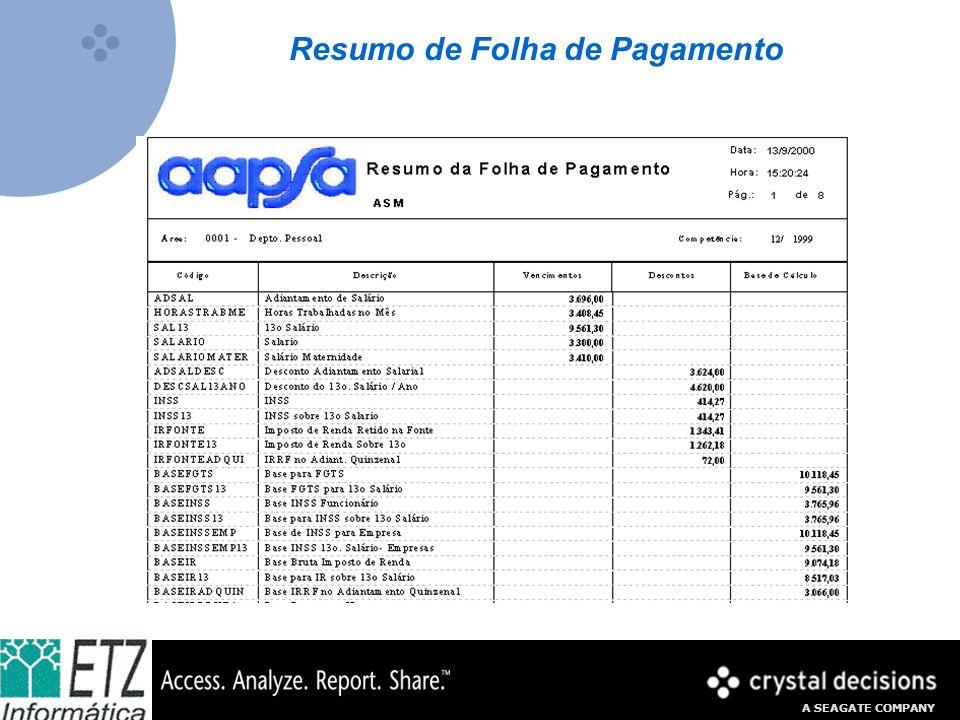 A SEAGATE COMPANY Resumo de Folha de Pagamento