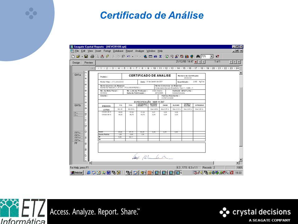 A SEAGATE COMPANY Certificado de Análise