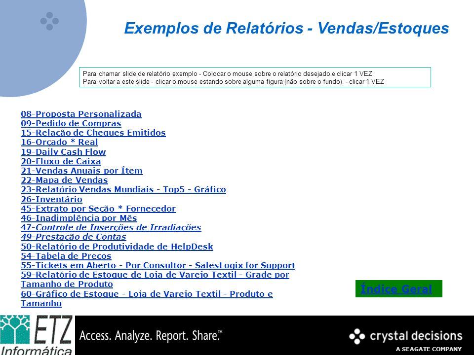 A SEAGATE COMPANY Exemplo de Relatório Formatações Condicionais papel zebrado Valor do Pedido: verde: acima de R$5000,00 amarelo:entre R$1000,00 e R$5000,00 vermelho:abaixo de R$1000,00