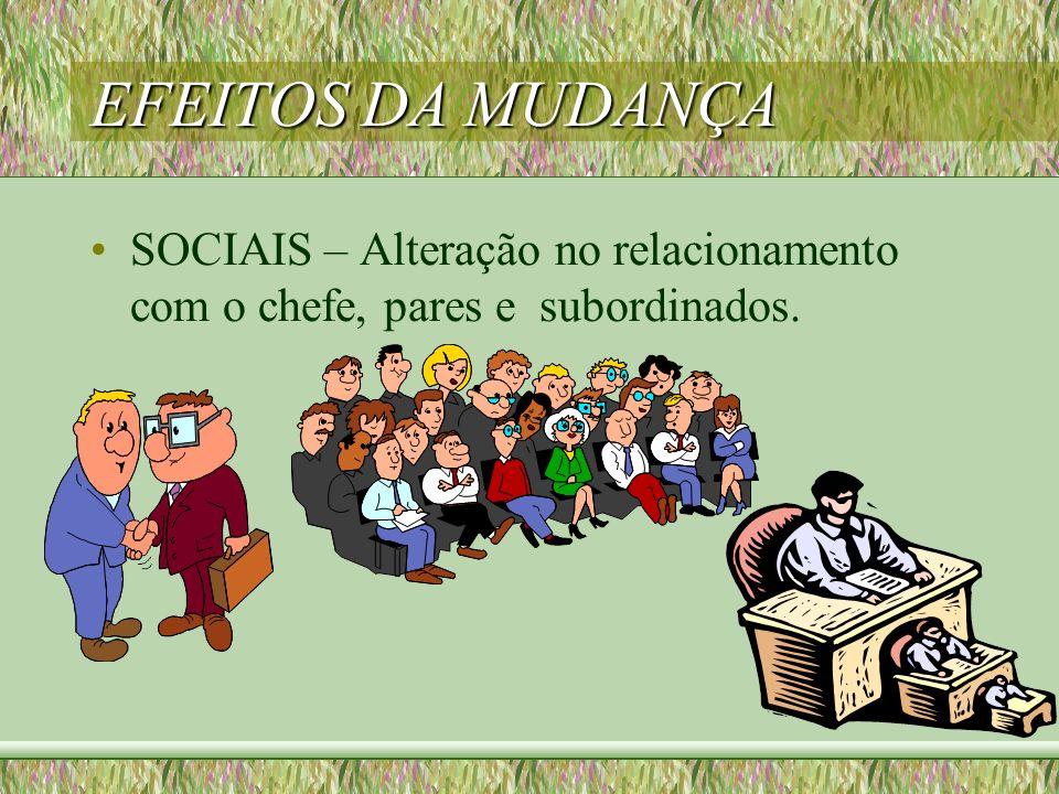 EFEITOS DA MUDANÇA SOCIAIS – Alteração no relacionamento com o chefe, pares e subordinados.