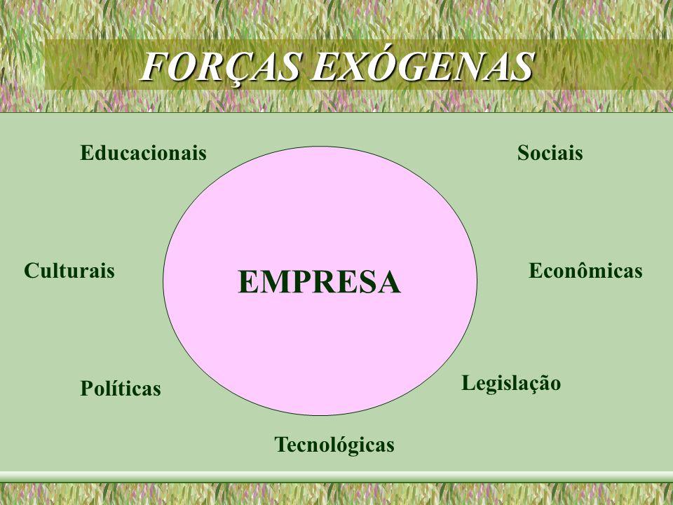 FORÇAS EXÓGENAS EMPRESA SociaisEducacionais Econômicas Tecnológicas Políticas Culturais Legislação