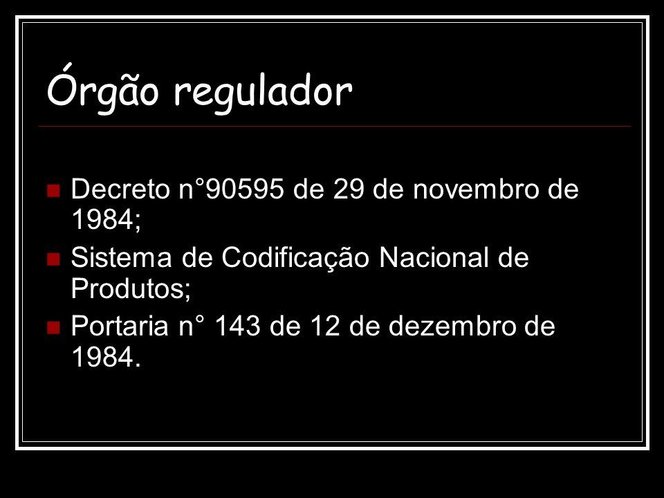 Órgão regulador Decreto n°90595 de 29 de novembro de 1984; Sistema de Codificação Nacional de Produtos; Portaria n° 143 de 12 de dezembro de 1984.