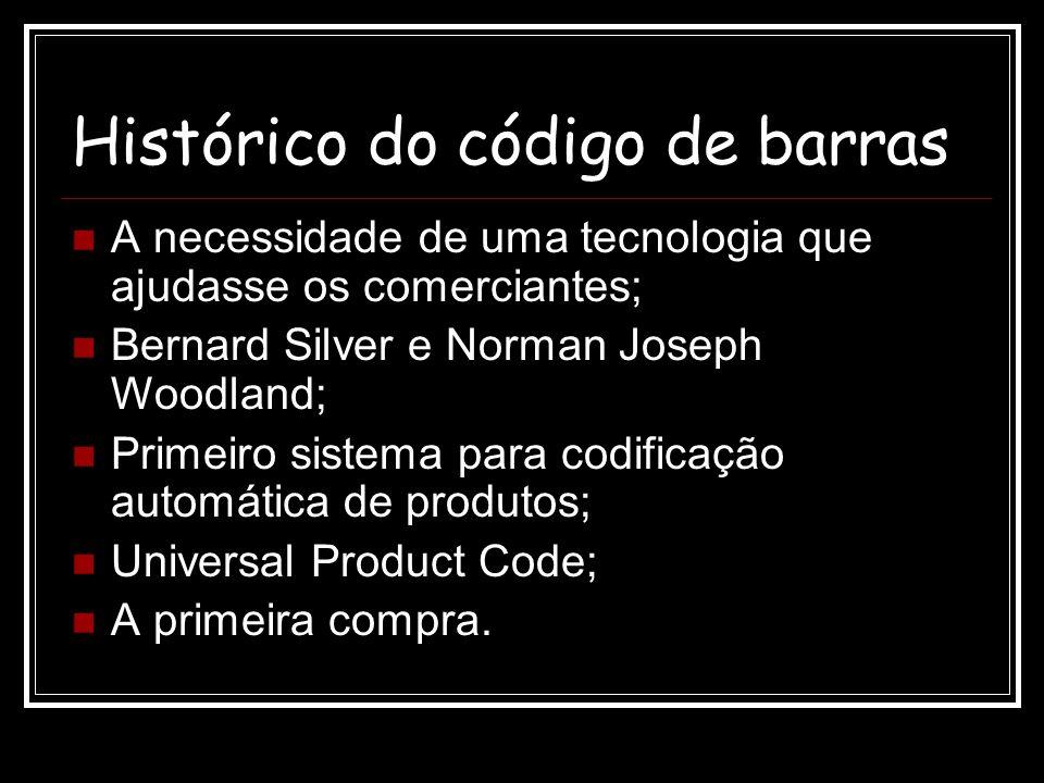 Histórico do código de barras A necessidade de uma tecnologia que ajudasse os comerciantes; Bernard Silver e Norman Joseph Woodland; Primeiro sistema