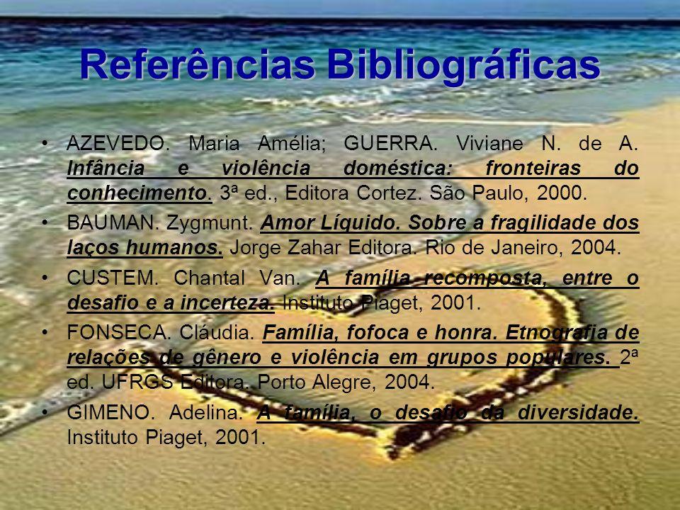Referências Bibliográficas AZEVEDO. Maria Amélia; GUERRA. Viviane N. de A. Infância e violência doméstica: fronteiras do conhecimento. 3ª ed., Editora