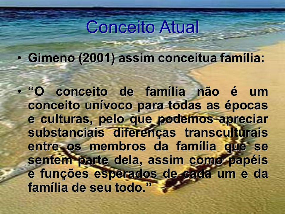 Conceito Atual Gimeno (2001) assim conceitua família:Gimeno (2001) assim conceitua família: O conceito de família não é um conceito unívoco para todas