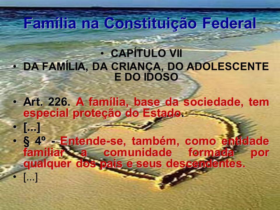 Família na Constituição Federal CAPÍTULO VII DA FAMÍLIA, DA CRIANÇA, DO ADOLESCENTE E DO IDOSO Art. 226. A família, base da sociedade, tem especial pr