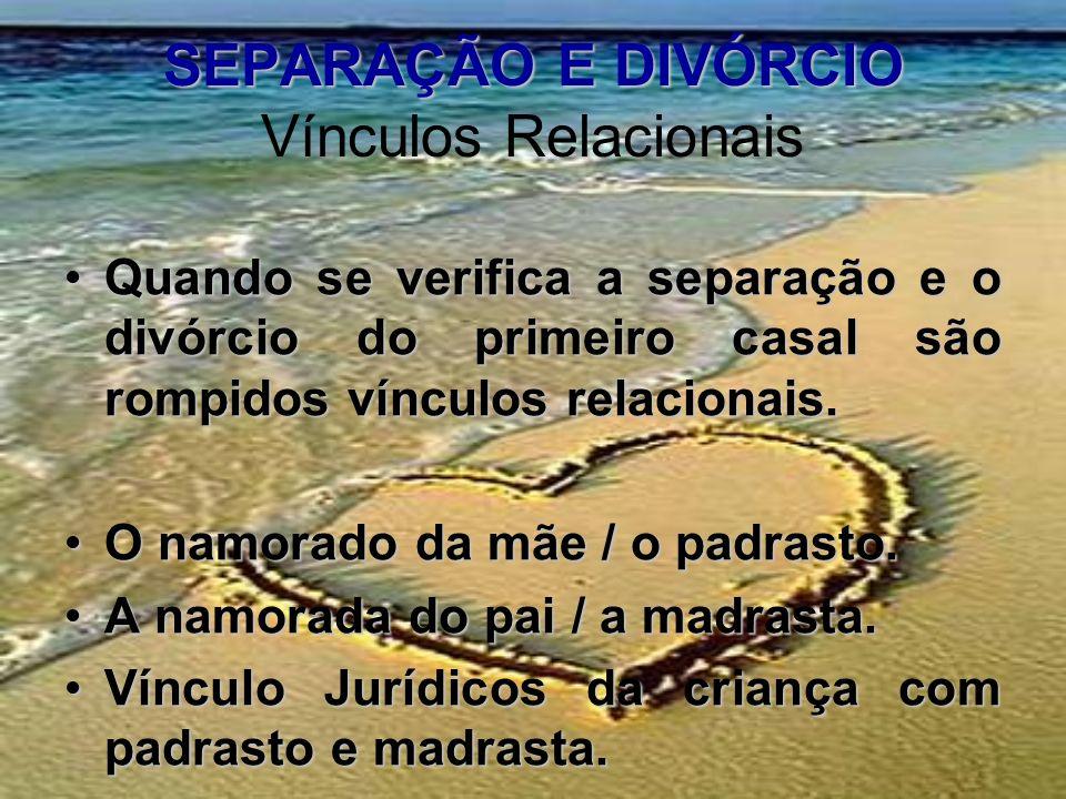 SEPARAÇÃO E DIVÓRCIO SEPARAÇÃO E DIVÓRCIO Vínculos Relacionais Quando se verifica a separação e o divórcio do primeiro casal são rompidos vínculos rel